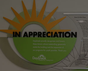 Appreciation plaque for Daybreak donors