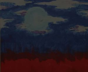 Abstract painting of a landscape with blues and reds